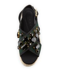 Marni - Green 60mm Jeweled Espadrille Flatform Sandal - Lyst