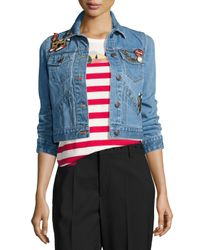 Marc Jacobs | Blue Shrunken Denim Jacket With Patches | Lyst