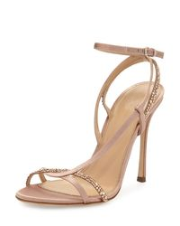 Sergio Rossi | Multicolor Lexington 105mm Strappy Crystal-embellished Satin Sandal | Lyst