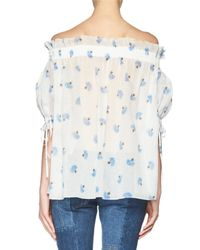 Alexander McQueen - Blue Floral-print Voile Off-shoulder Top - Lyst
