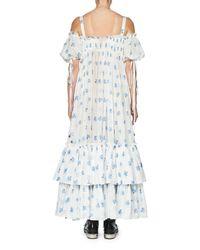 Alexander McQueen - Blue Floral Cold-shoulder Tiered Maxi Dress - Lyst