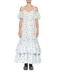 Alexander McQueen | Blue Floral Cold-shoulder Tiered Maxi Dress | Lyst