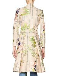 Alexander McQueen - Natural Floral-embroidered Leather Zip Jacket - Lyst
