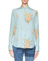 Alexander McQueen | Blue Floral Crepe De Chine Blouse | Lyst