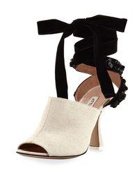 Attico | Multicolor Pamela Canvas & Velvet Ankle-wrap Sandal | Lyst
