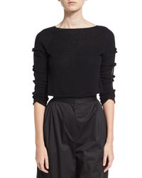 The Row | Black Jian Cashmere Bow-sleeve Sweater | Lyst