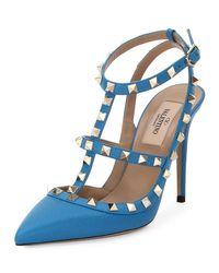 Valentino - Blue Rockstud Leather 100mm Pump - Lyst