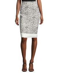Carolina Herrera   Black Splatter-print Pencil Skirt   Lyst