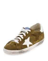 Golden Goose Deluxe Brand | Green Distressed Suede Low-top Sneaker | Lyst