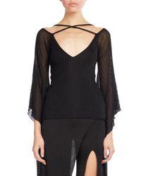 Balmain | Black Knit Top W/sheer Batwing Sleeves | Lyst