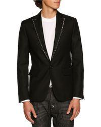 DSquared² | Black Studded-lapel Single-button Blazer for Men | Lyst