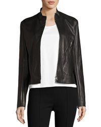 The Row   Black Tripton Leather Zip-front Jacket   Lyst