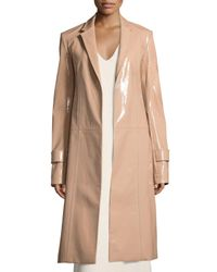Calvin Klein - Natural Patent Leather Belted Trench Coat - Lyst