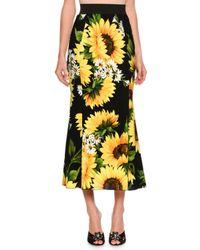 Dolce & Gabbana | Yellow Flared Sunflower-print Midi Skirt | Lyst