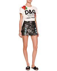 Dolce & Gabbana - Gray Floral Brocade Mini Skirt - Lyst