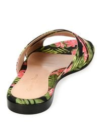 Gianvito Rossi - Red Floral-print Fabric Sandal Slide - Lyst