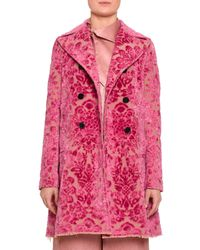 Valentino - Pink Devoré Velvet Brocade Car Coat - Lyst