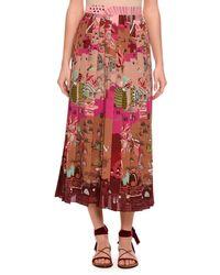 Valentino   Multicolor Garden Of Delight Pleated Tea-length Skirt   Lyst