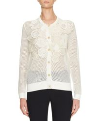 Chloé | White Crochet-flower Perforated Cardigan | Lyst
