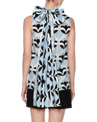 Miu Miu - Blue Pop-print Bow-back Top - Lyst