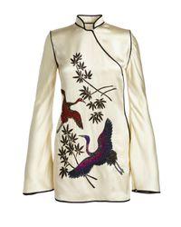 Attico - White Embroidered Satin Mandarin-collar Dress - Lyst