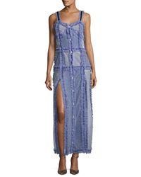 Attico   Blue Patchwork Camisole Maxi Dress   Lyst