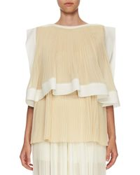 Chloé | Natural Pleated Georgette Tiered Blouse | Lyst