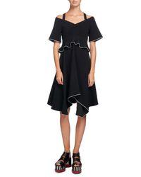 Proenza Schouler | Black Tipped Cold-shoulder Crepe Dress | Lyst