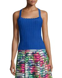 Nanette Lepore | Blue Sleeveless Ribbed Top With Scalloped Straps | Lyst