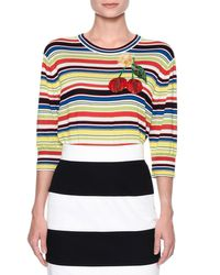 Dolce & Gabbana | Multicolor Cherry-embroidered Striped Top | Lyst