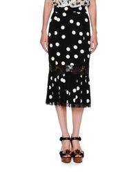 Dolce & Gabbana | Black Lace-trim Polka Dot Skirt | Lyst