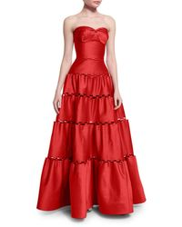 Zac Posen | Strapless Tiered Satin Gown | Lyst