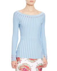 Altuzarra - Blue Tatum Striped Knit Ballet Top - Lyst