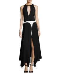 Giambattista Valli | Black Keyhole Sleeveless Handkerchief-hem Gown | Lyst