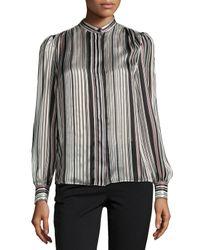 Giambattista Valli | White Striped Band-collar Blouse | Lyst