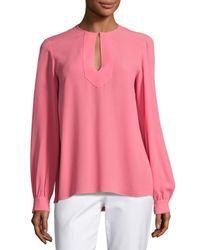 Michael Kors | Pink Split-neck Silk Blouse | Lyst