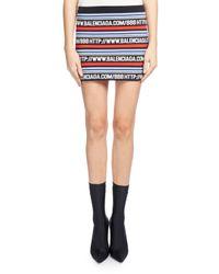 Balenciaga | Black Logo-stripe Knit Miniskirt | Lyst