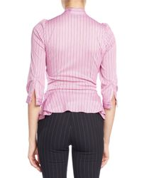 Balenciaga - Pink Striped Tie-neck Ruched Jersey Blouse - Lyst