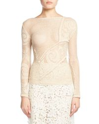 Balenciaga | Natural Crocheted Lace Sweater | Lyst