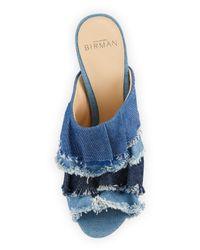 Alexandre Birman | Blue Mili 90mm Ruffle-denim Slide Sandal | Lyst