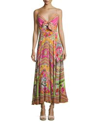 Camilla | Multicolor Embellished Tie-front A-line Maxi Dress | Lyst