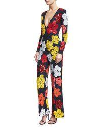 Naeem Khan | Blue Beaded Floral Long-sleeve Jumpsuit | Lyst
