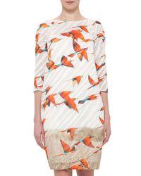 Akris   Multicolor 3/4-sleeve Karminspint-print Shift Dress   Lyst