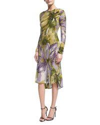Naeem Khan   Purple Long-sleeve Floral Beaded Cocktail Dress   Lyst