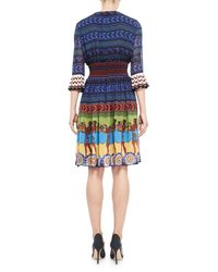 Mary Katrantzou | Blue Greek Key-print Silk Dress | Lyst