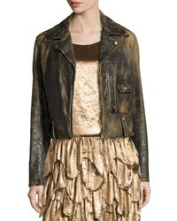 Ralph Lauren Collection | Black Dwight Distressed Leather Jacket | Lyst