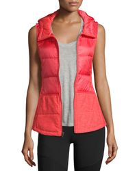 The North Face | Red Pseudio Puffer Hooded Tunic Vest | Lyst