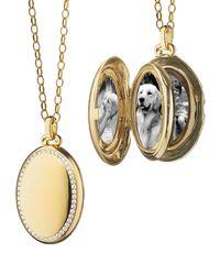 Monica Rich Kosann | Metallic Pave Diamond High Polished Locket Necklace | Lyst