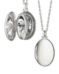 Monica Rich Kosann   Metallic Silver Satin-finish 4-image Oval Locket Necklace   Lyst
