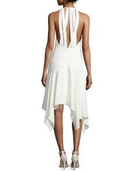Halston - White Sleeveless Stretch Crepe Handkerchief Cocktail Dress - Lyst